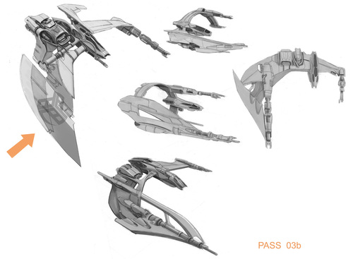 Early sketches of the Vanduul Scythe