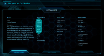 35ee0 Star Citizen Reclaimer dimensions The Shipyard: Ship Technical Information