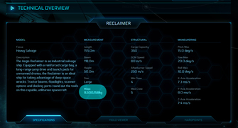 35ee0 Star Citizen Reclaimer mass The Shipyard: Ship Technical Information