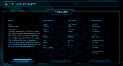 4cc6e Star Citizen Reclaimer full The Shipyard: Ship Technical Information