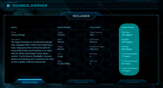 603ba Star Citizen Reclaimer maneuvering The Shipyard: Ship Technical Information