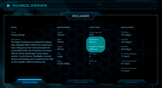 f8748 Star Citizen Reclaimer speed The Shipyard: Ship Technical Information